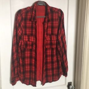 Red flannel long xl Maurice's snap closure
